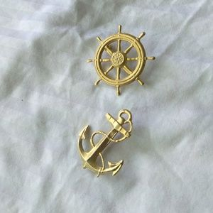 Jewelry - NWOT Helm & Anchor Nautical Marine Naval Brooches